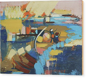 Wood Print featuring the painting West End Blues by Erin Fickert-Rowland