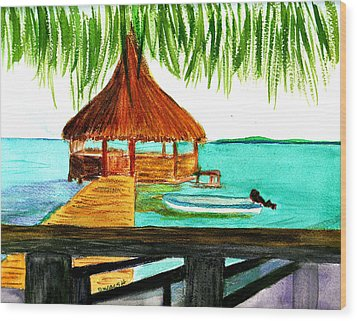 West End Roatan Wood Print by Donna Walsh