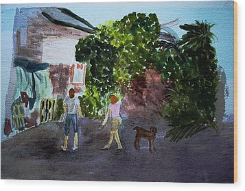 Wood Print featuring the painting West End Shopping by Donna Walsh