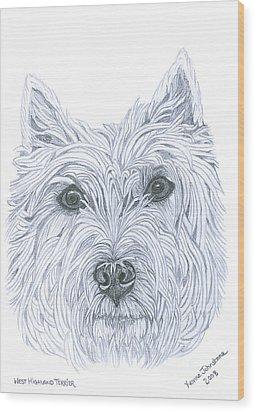 West Highland Terrier Wood Print by Yvonne Johnstone
