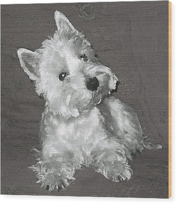 Wood Print featuring the digital art West Highland White Terrier by Charmaine Zoe
