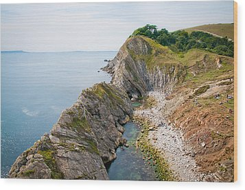 West Lulworth Lagoon The Natural Lagoon Behind The Jurassic Cliffs West Of Lulworth Cove Dorset Wood Print by Andy Smy