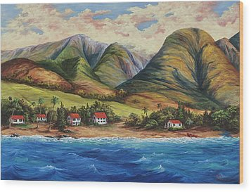 Wood Print featuring the painting West Maui Living by Darice Machel McGuire