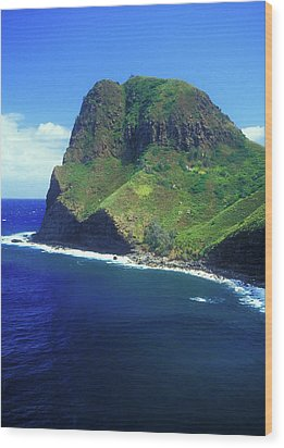West Maui Ocean Cliff Wood Print by John Burk
