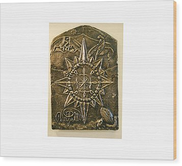 West Meets Southwest Compass Rose Wood Print by Thor Sigstedt
