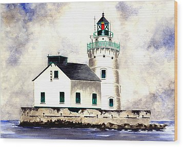 West Pierhead Lighthouse Wood Print by Michael Vigliotti