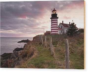 West Quoddy Head Light Wood Print by Patrick Downey