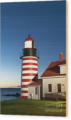 West Quoddy Head Lighthouse Maine Wood Print by John Greim