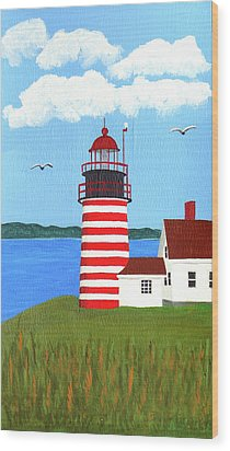 West Quoddy Head Lighthouse Painting Wood Print by Frederic Kohli