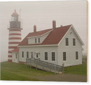 West Quoddy In Fog Wood Print by Brent L Ander