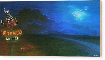 West Texas Moon Wood Print by Jon Paul Price
