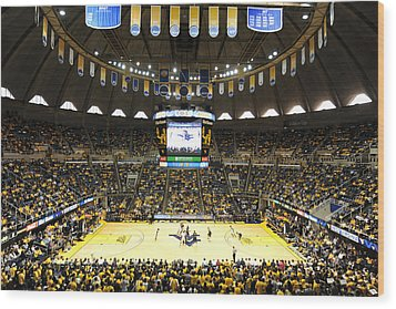 West Virginia Mountaineers Wvu Coliseum Wood Print by Replay Photos