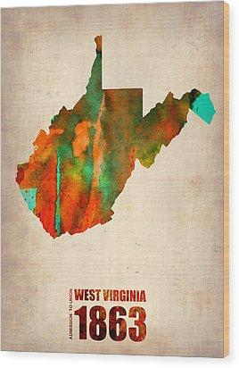 West Virginia Watercolor Map Wood Print by Naxart Studio