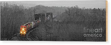 Westbound Grain Wood Print by Brad Allen Fine Art