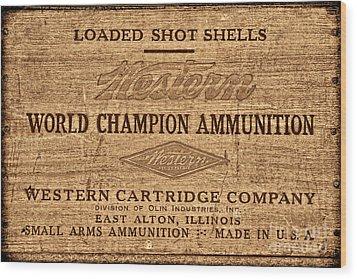Western Ammunition Box Wood Print by American West Legend By Olivier Le Queinec