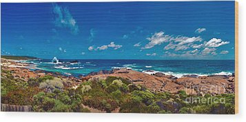 Wood Print featuring the photograph Western Australia Beach Panorama by David Zanzinger