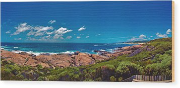 Wood Print featuring the photograph Western Australia Beach Panorama Margaret River by David Zanzinger
