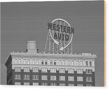 Western Auto Building Of Kansas City Missouri Bw Wood Print