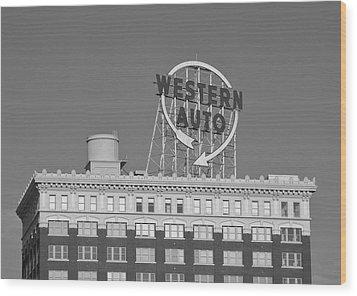 Western Auto Building Of Kansas City Missouri Bw Wood Print by Elizabeth Sullivan