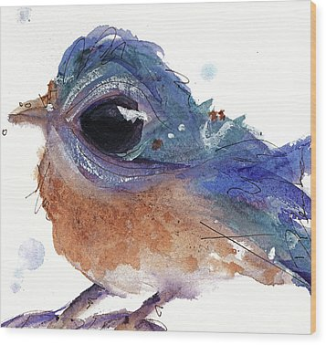 Wood Print featuring the painting Western Bluebird by Dawn Derman