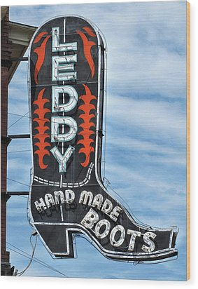 Wood Print featuring the photograph Western Boot Sign by David and Carol Kelly