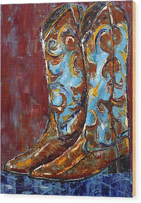 Western Boots Wood Print by Jennifer Godshalk