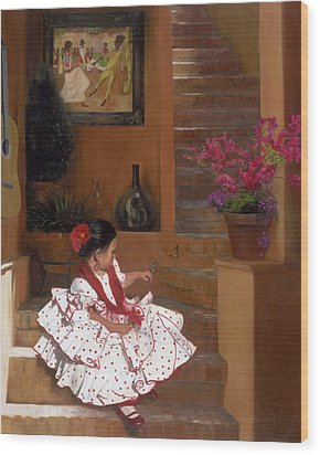 Western Grace Of Good Cheer    Mexico    From The Three Graces Of The West Wood Print by Anna Rose Bain
