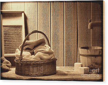 Western Laundromat   Wood Print by American West Legend By Olivier Le Queinec