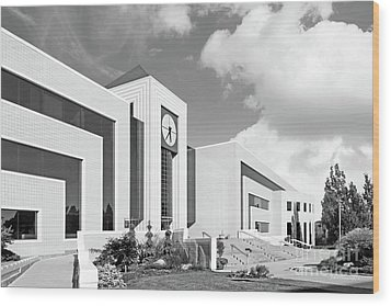 Western Michigan University Stewart Clocktower And Waldow Library Wood Print by University Icons