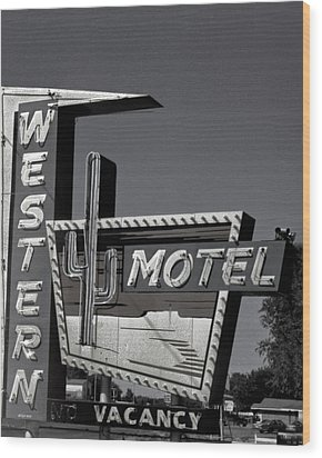 Wood Print featuring the photograph Western Motel In Black And White by Matthew Bamberg