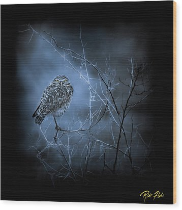 Wood Print featuring the photograph Western Owl Gloom by Rikk Flohr