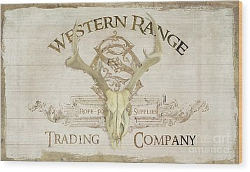 Wood Print featuring the painting Western Range 3 Old West Deer Skull Wooden Sign Trading Company by Audrey Jeanne Roberts
