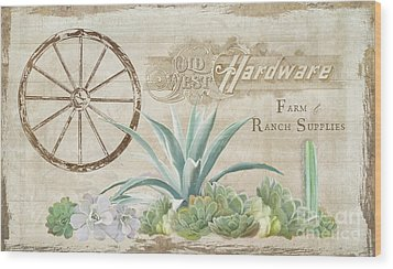 Wood Print featuring the painting Western Range 4 Old West Desert Cactus Farm Ranch  Wooden Sign Hardware by Audrey Jeanne Roberts