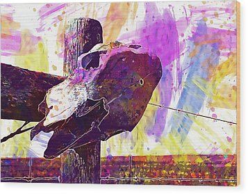 Wood Print featuring the digital art Western Skull Farm Trophy Skeleton  by PixBreak Art