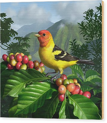 Western Tanager Wood Print by Jerry LoFaro