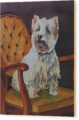 Westie Angel Dusty Wood Print by Donna Pierce-Clark