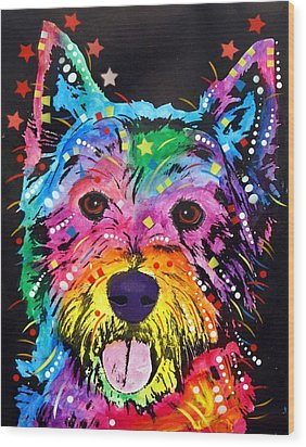 Wood Print featuring the painting Westie by Dean Russo