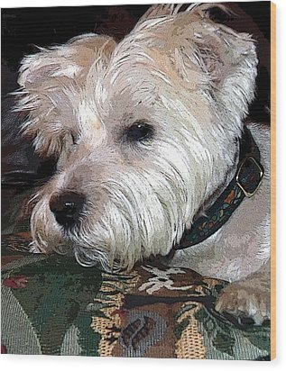 Westie Wood Print by Mindy Newman