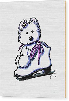 Westie Skater Girl Wood Print by Kim Niles