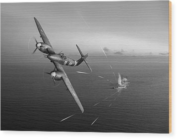 Wood Print featuring the photograph Westland Whirlwind Attacking E-boats Black And White Version by Gary Eason
