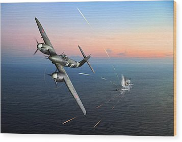 Wood Print featuring the photograph Westland Whirlwind Attacking E-boats by Gary Eason