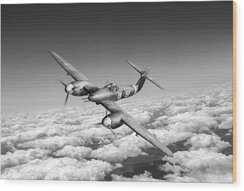Wood Print featuring the photograph Westland Whirlwind Portrait Black And White Version by Gary Eason
