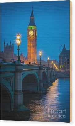 Westminster Bridge At Night Wood Print by Inge Johnsson