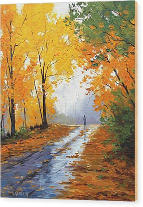 Wet Autumn Morning Wood Print by Graham Gercken
