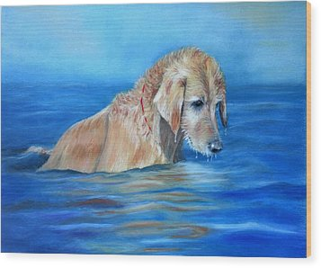 Wood Print featuring the painting Wet Godden Retriever by Ceci Watson