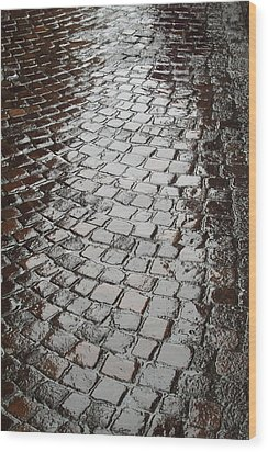 Wood Print featuring the photograph Wet Lucca Street by Michael Flood