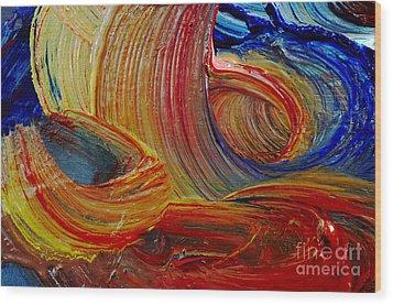 Wet Paint - Run Colors Wood Print by Michal Boubin