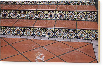 Wet Tile Steps Wood Print by Jean Booth