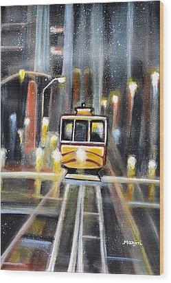 Wet Tram California Wood Print