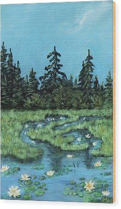 Wood Print featuring the painting Wetland - Algonquin Park by Anastasiya Malakhova